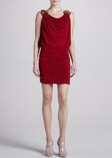 Laundry by Shelli Segal Embellished-Shoulder Dress, Vixen