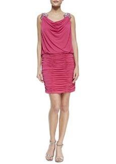 Laundry by Shelli Segal Embellished-Shoulder Dress, Watermelon