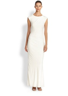 Laundry by Shelli Segal Embellished-Shoulder Jersey Gown