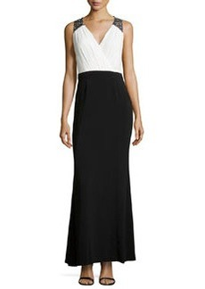 Laundry by Shelli Segal Embellished-Shoulder Pleated Gown, Black/Warm White