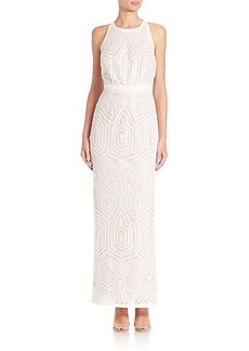 Laundry by Shelli Segal Embellished Sleeveless Open-Back Gown