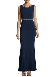 Laundry by Shelli Segal Embellished Sleeveless V-Neck Gown, Dark Midnight