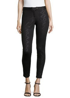 Laundry by Shelli Segal Embossed Animal-Print Leggings, Black