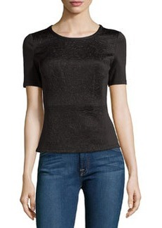 Laundry by Shelli Segal Embossed Scuba Peplum Short-Sleeve Top