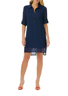 LAUNDRY BY SHELLI SEGAL Embroidered Chiffon High-Low Shirtdress