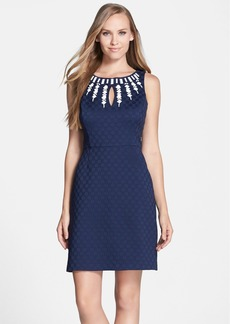 Laundry by Shelli Segal Embroidered Jacquard Sheath Dress
