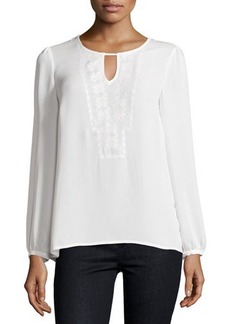 Laundry by Shelli Segal Embroidered Keyhole Blouse