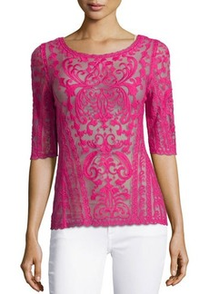 Laundry by Shelli Segal Embroidered-Mesh Boat-Neck Top