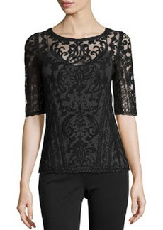 Laundry by Shelli Segal Embroidered-Mesh Boat-Neck Top, Black