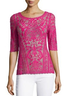 Laundry by Shelli Segal Embroidered-Mesh Boat-Neck Top, Hotty Pink