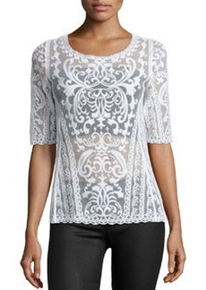 Laundry by Shelli Segal Embroidered-Mesh Boat-Neck Top, Optic White