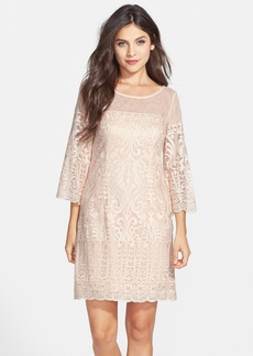 Laundry by Shelli Segal Embroidered Mesh Scalloped Shift Dress