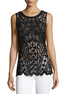Laundry by Shelli Segal Embroidered-Mesh Tank