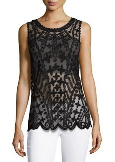 Laundry by Shelli Segal Embroidered-Mesh Tank, Black