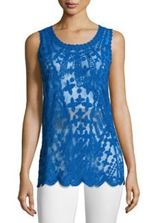 Laundry by Shelli Segal Embroidered-Mesh Tank, Bright Blue Beret