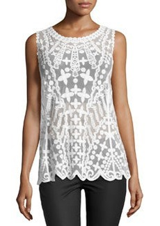 Laundry by Shelli Segal Embroidered-Mesh Tank, Optic White