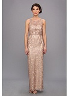 Laundry by Shelli Segal Embroidered Metallic Mesh Gown