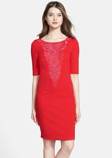Laundry by Shelli Segal Embroidered Ponte Shift Dress