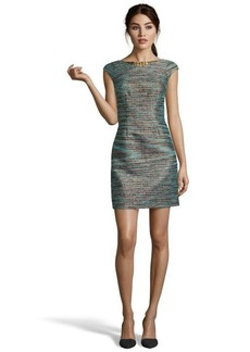 Laundry by Shelli Segal emerald cap sleeve front zip embellished neck boucle dress