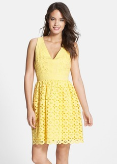 Laundry by Shelli Segal Eyelet V-Neck Fit & Flare Dress