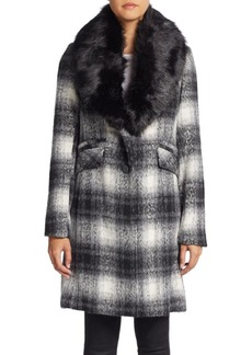 Laundry by Shelli Segal Faux Fur-Collar Plaid Wool-Blend Coat
