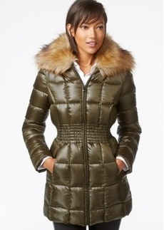 Laundry by Shelli Segal Faux-Fur-Collar Puffer Down Jacket