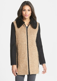 Laundry by Shelli Segal Faux Fur Collar Two-Tone Bouclé Coat