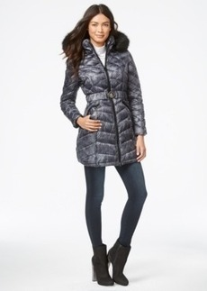 Laundry by Shelli Segal Faux-Fur-Hood Belted Puffer Down Coat