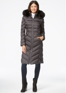 Laundry by Shelli Segal Faux-Fur-Hood Long Down Puffer Coat