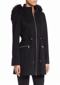 LAUNDRY BY SHELLI SEGAL Faux Fur-Hooded Coat