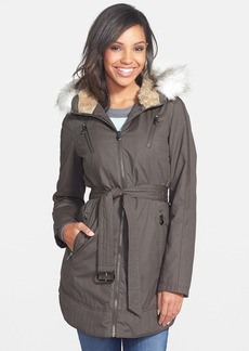 Laundry by Shelli Segal Faux Fur Trim Belted Parka