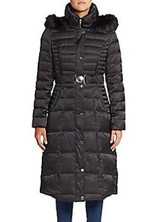 Laundry by Shelli Segal Faux Fur-Trim Belted Puffer Coat