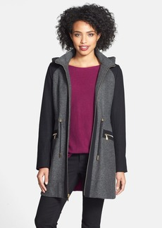 Laundry by Shelli Segal Faux Fur Trim Colorblock Tweed Coat