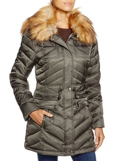 Laundry by Shelli Segal Faux Fur-Trim Packable Puffer Coat