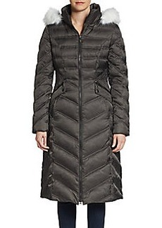Laundry by Shelli Segal Faux Fur-Trimmed Chevron Puffer