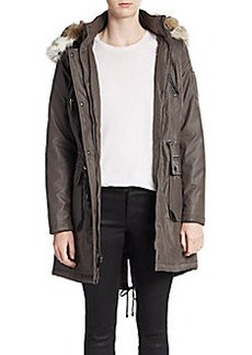 Laundry by Shelli Segal Faux Fur-Trimmed Coated Parka