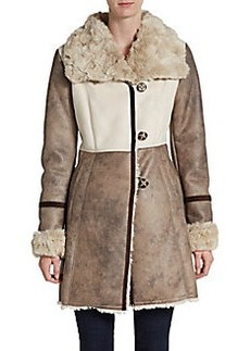 Laundry by Shelli Segal Faux-Fur Trimmed Faux Leather & Suede Paneled Coat