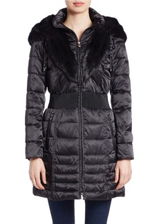 LAUNDRY BY SHELLI SEGAL Faux-Fur Trimmed Hooded Puffer Coat