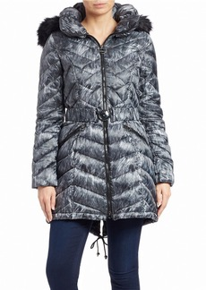 LAUNDRY BY SHELLI SEGAL Faux Fur-Trimmed Puffer Coat