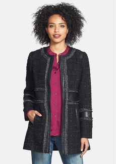 Laundry by Shelli Segal Faux Leather & Metallic Trim Tweed Coat (Regular & Petite)