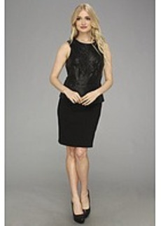 Laundry by Shelli Segal Faux Leather and Ponte Peplum Dress