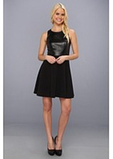 Laundry by Shelli Segal Faux Leather and Ponte Racer Back Flared Dress