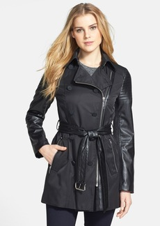 Laundry by Shelli Segal Faux Leather Detail Double Breasted Trench Coat