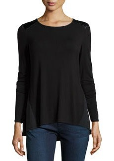 Laundry by Shelli Segal Faux-Leather-Shoulder Top, Black