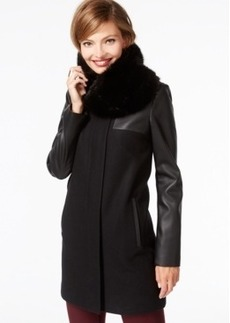 Laundry by Shelli Segal Faux-Leather-Sleeve Coat with Faux-Fur Scarf