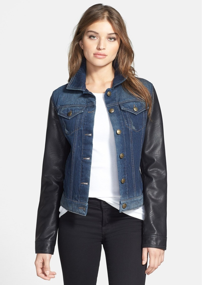 Laundry by Shelli Segal Faux Leather Sleeve Denim Jacket