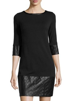 Laundry by Shelli Segal Faux-Leather Trim 3/4-Sleeve Dress