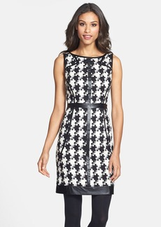 Laundry by Shelli Segal Faux Leather Trim Houndstooth Sheath Dress