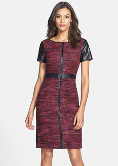Laundry by Shelli Segal Faux Leather Trim Multicolor Bouclé Dress (Regular & Petite)