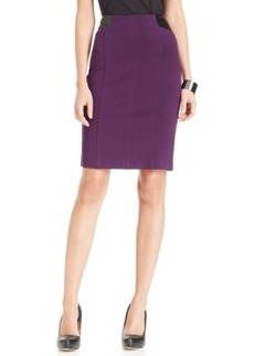 Laundry by Shelli Segal Faux-Leather-Trim Pencil Skirt